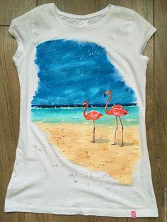 Купить Розовые фламинго - белый, футболка, футболка с рисунком, рисунок на ткани, рисунок на футболке