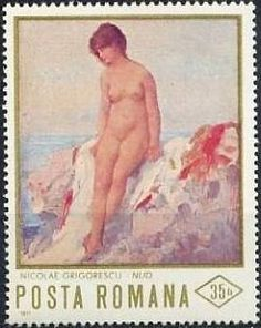 "Stamp: ""Nude on the beach"" by N. Grigorescu (Romania) (Paintings of Nudes) Mi:RO Postage Stamps, Community, Beach, Art Paintings, Nudes, Scotland, Google Search, Romania, Seaside"
