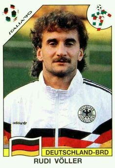 Rudi Voller of West Germany. 1990 World Cup Finals card. Football Stickers, Football Cards, Baseball Cards, Football Icon, Football Soccer, Lars Bender, America Album, Michael Ballack, Germany Football