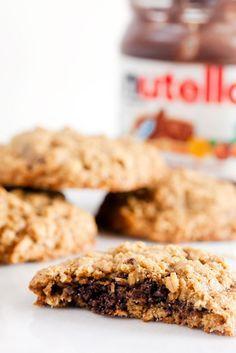 Gluten Free Nutella Stuffed Oatmeal Cookies .