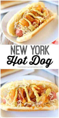 New York Style Hot Dog - this simple & delicious recipe is similar to the pushcart hot dog featuring onion sauce and sauerkraut. #newyork #hotdog #recipes