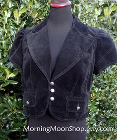 BLACK Corduroy CROPPED Jacket Top, VINTAGE Retro clueless Grunge boho, Short Jacket, casual, Short Sleeves, Carved Buttons, India Cotton, 10 by MorningMoonShop on Etsy