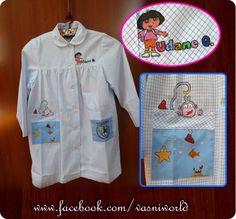 Bata del cole personalizada. Pintada a mano con motivos de Dora la Esploradora.  www.facebook.com/vasniworld