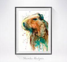 Capybara watercolor painting print Capybara art animal by SlaviART