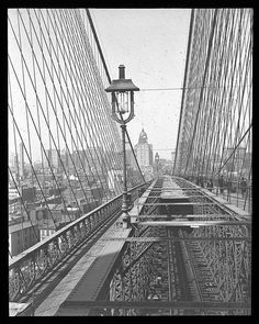 Looking to New York from Brooklyn Tower. Collection-Lantern Slide Collection Views- U.S., Brooklyn Brooklyn Bridge 1896-1900
