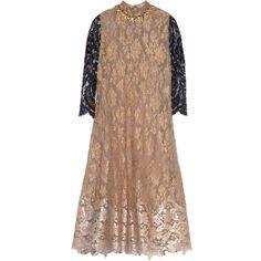 Biyan Amara embellished metallic lace dress (19.222.835 IDR) ❤ liked on Polyvore featuring dresses, gold, lace slip, lace slip dress, lace cocktail dress, sheer cocktail dress and sheer slip