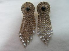 1980s Chunky Dangling Rhinestone Earrings Item 568 by KittyCatShop