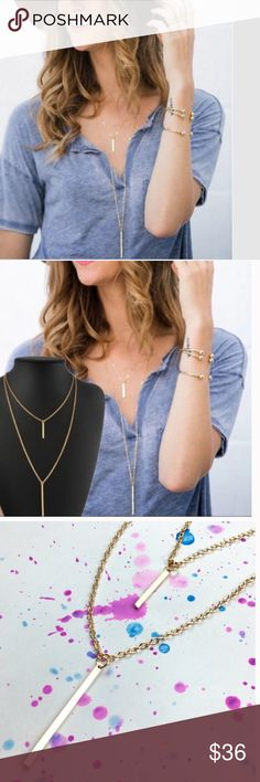 •double layer gold bar necklace• Necklace features gold bar on double chain.  Lobster claw clasp.  14K gold plated alloy. Length of longer necklace about 32 inches.  ❌PROCE FIRM UNLESS BUNDLED❌ Jewelry Necklaces