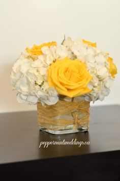 Bright yellow and white wedding flowers! Short centerpiece with white hydrangeas and yellow roses. White Hydrangea Centerpieces, Country Wedding Centerpieces, Short Centerpieces, White Centerpiece, Centrepieces, Yellow Wedding Flowers, Bridal Flowers, Yellow Roses, White Roses