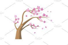 Sakura Tree with Pink Flowers Graphics Sakura Tree with pink flowers. Vector tree icon. Tree forest, leaf tree isolated, tree branch nature by robuart