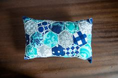 Navy Turquoise and Gray Hand Embroidered by ErinLynnDesigns, $35.00