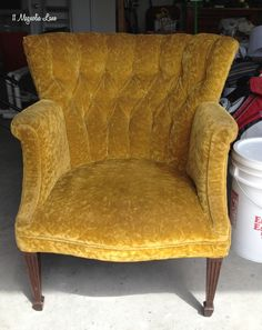 """Here's the """"before."""" You won't believe that """"after""""!! good info on using fabric medium/latex paint"""