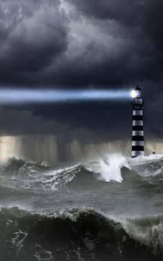 ♂ Amazing photography Light house Clouds, Wind, Rain and Rough Surf.