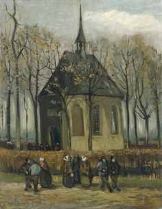 """Vincent van Gogh oil painting titled, """"Congregation Leaving the Reformed Church in Nuenen."""" Oil on canvas x cm. Nuenen: January-February, 1884 and Autumn, 1885 F JH 521 Location still unknown. Stolen from the Van Gogh Museum on 7 December Vincent Van Gogh, Artist Van Gogh, Van Gogh Art, Van Gogh Museum, Art Van, Van Gogh Pinturas, Van Gogh Paintings, Dutch Painters, Dutch Artists"""