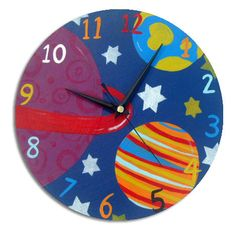 Outer Space Clock by WithHugsandKisses on Etsy, $36.00