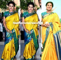 Sneha in a traditional saree – South India Fashion Sneha Saree, Kanchipuram Saree, Ikkat Silk Sarees, Yellow Saree Silk, Engagement Saree, Indische Sarees, Wedding Saree Collection, Indie Mode, Party Sarees