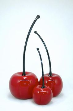 """Red Cherries""  Art Glass Sculpture    Created by Donald Carlson"