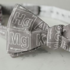 ee49d0b37ac0 Items similar to Periodic Table Elements Bow Tie in Silver Gray and White -  Groomsmen and wedding tie - clip on, pre-tied with strap or self tying on  Etsy