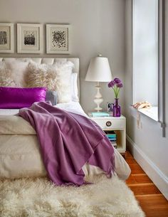 Luv the fluff and pop of purple bedroom color schemes, bedroom colors, cozy bedroom Cozy Bedroom, Dream Bedroom, Bedroom Decor, Bedroom Ideas, Master Bedroom, Feminine Bedroom, Bedroom Furniture, Bedroom Inspiration, Bedroom Designs