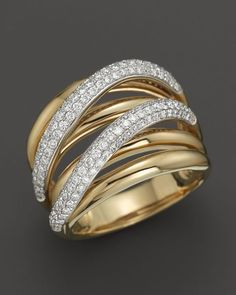 Roberto Coin 18K Yellow and White Gold Crossover Diamond Ring