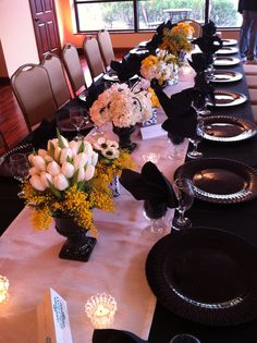 black, white and yellow centerpieces