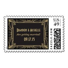 Art Deco Style Wedding Postage Stamps. Wanna make each letter a special delivery? Try to customize this great stamp template and put a personal touch on the envelope. Just click the image to get started!