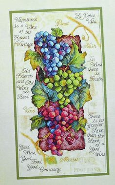 Rare Sunset GOOD WINE Counted Cross Stitch by ThePamperedStitcher