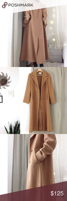 Carmel Cashmere Blend Coat Perfect condition Carmel wool longline coat size 8. 80% lambswool 20% cashmere, lining is 100% polyester. I'm 5'8 for reference. Retail: $375 Jackets & Coats Pea Coats