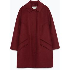 Zara Hand Made Coat (€67) found on Polyvore featuring women's fashion, outerwear, coats, jackets, coats & jackets, burgundy, burgundy coat, fur-lined coats, red coat and zara coats