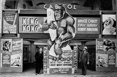 "They sure knew how to open a movie back in 1933, didn't they? Here's a photograph of how one cinema got all gussied up for their showing of the RKO monster hit ""King Kong.""  My new novel, ""Sabotage at RKO Studio,"" ends with the Hollywood premiere of this movie at Grauman's Chinese Theatre. I've been looking for a photograph of that premiere. Descriptions of it include the original huge Kong head set up in the forecourt of the theater. Anyone have photographs of that premiere? Let me know."