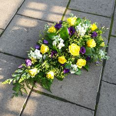 Colourful Single Ended Spray in whites, yellows and purples. Funeral Floral Arrangements, Flower Arrangements, Funeral Flowers, Wedding Flowers, Florist London, Funeral Sprays, Funeral Tributes, Same Day Flower Delivery, Cut Flowers