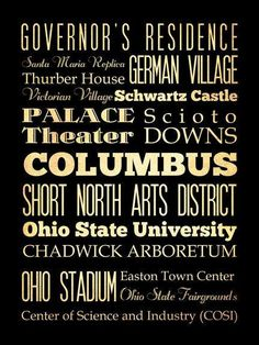 Columbus Ohio Typography Art Poster / Bus  / by LegacyHouseArt, $44.95