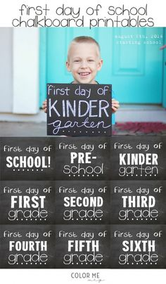 print out these great chalkboard signs for the first day of school