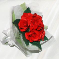 """7 Roses"" origami flower bouquet - 20 folded elements (origami flower & foliage)  - Free Shipping Worldwide - $49.99"