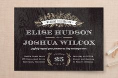 """Woodland Romance"" - Rustic Wedding Invitations in Walnut by Hooray Creative."