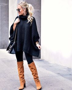 """40.3k Likes, 116 Comments - LIKEtoKNOW.it (@liketoknow.it) on Instagram: """"Slouchy cowl neck silhouette and a cozy poncho fit, we're loving @lomurph's #LTKunder100 fall find…"""""""