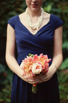 Emily Carter Floral Designs of Freeport, ME, designed the elegantly simple bouquets. {Photo by Nadra Photography}