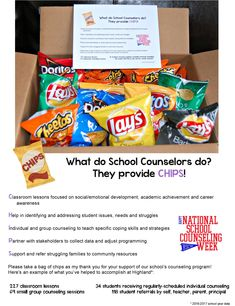 National School Counseling Week: This is what I will be sharing with my staff to highlight what I do as their school counselor and to thank them for their support. Idea, appreciation, what do school counselors do? School Counselor Office, Middle School Counseling, Elementary School Counselor, Counseling Office, National School Counseling Week, Highlight, Social Work, Educational Leadership, Educational Technology