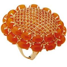 Aurora ring in 18k gold with carnelian and orange sapphires; Carla Amorim