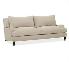 Sofa upholstered with Belgian linen - beautiful color and fabric, and super comfy