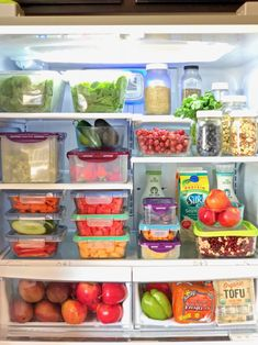 Fridge Organization Take a peek inside my plant based and vegan fridge! Glass containers, a good knife, and 1 hour per week is all it takes to turn your fridge into ! Makes meal packing, prepping, and cooking a total breeze. Refrigerator Organization, Kitchen Organization Pantry, Organized Fridge, Organization Hacks, Organizing, Clothing Organization, Staying Organized, Healthy Fridge, Healthy Life