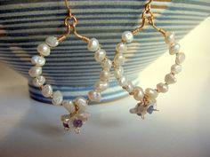 Pearl and tanzanite gold hoop earrings wedding by starrydreams, $75.00