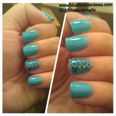Wet n Wild Teal Slowly And See and Maybelline Blue Beats on accent finger.