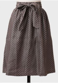 love note polka dot chambray skirt in taupe