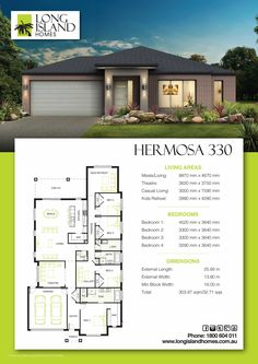 Hermosa 330 Modern House Floor Plans, Simple House Plans, Home Design Floor Plans, Best House Plans, Dream House Plans, House Layout Plans, House Layouts, Hip Roof Design, Modular Home Designs