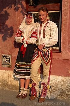 Couple in traditional Slovak costume, Kezmarok, Slovakia
