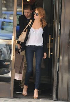 Millie Mackintosh | blue skinnies + white cami with detail + + black cardigan/jacket + nude accessories