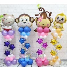 50pcs/lot Love heart Monkey upright stand column foil balloon Birthday Party decorations Baby Helium latex star balloon