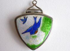 Bluebird Locket Enamel Guilloche