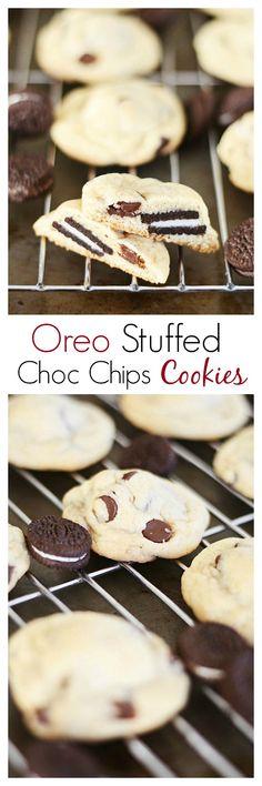 Easy Oreo-stuffed chocolate chip cookies recipe. Sweet crunchy cookies with creamy Oreo inside, a great treat. Recipe by @jennyflake| rasamalaysia.com